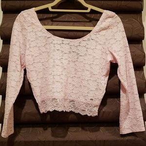 Pink lace crop top!